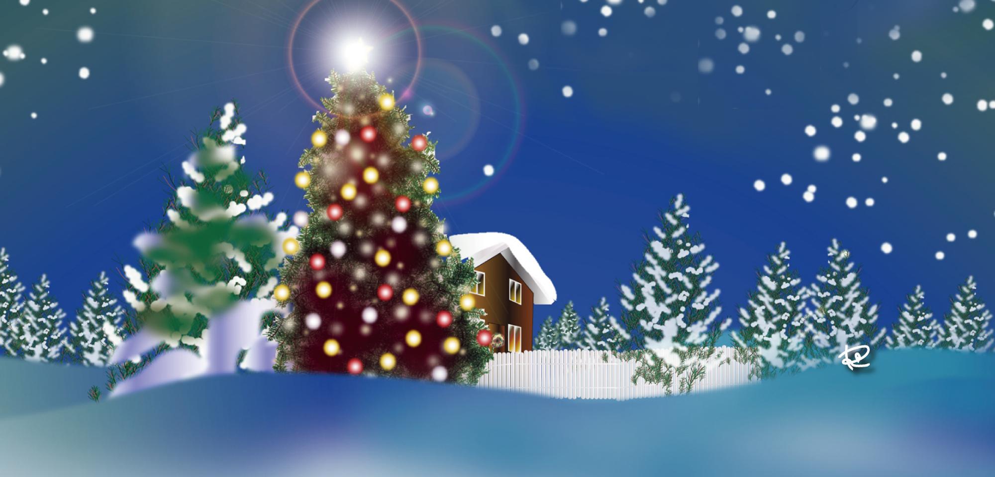 クリスマスカード雪景色